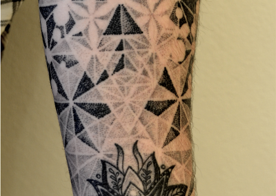 Healed sacred geometry half sleeve dotwork lotus